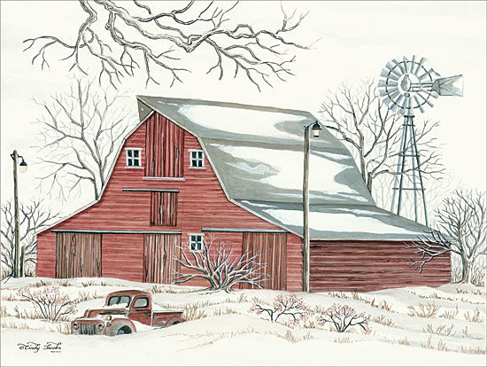 Cindy Jacobs CIN1419 - Winter Barn with Pickup Truck Barn, Farm, Snow, Winter, Landscape, Truck, Windmill from Penny Lane