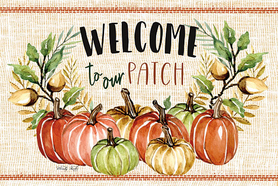 Cindy Jacobs CIN1428 - Welcome to Our Patch - 18x12 Welcome, Pumpkins, Pumpkin Patch, Acorns, Greenery, Harvest, Grain Sack, Linen Tea Towels from Penny Lane