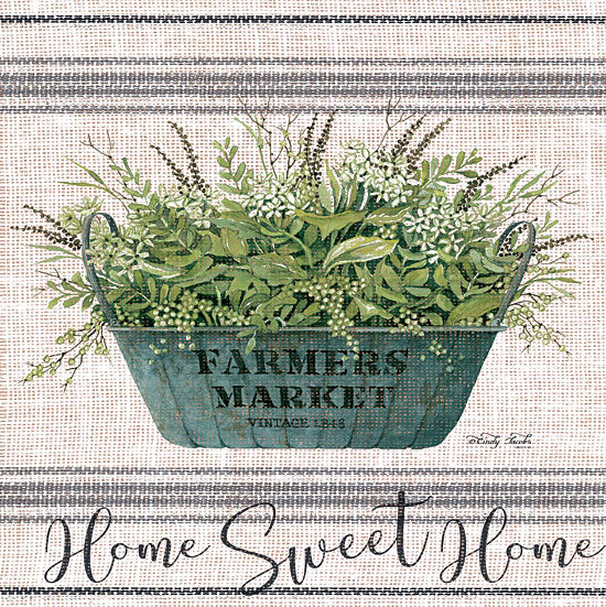 Cindy Jacobs CIN1438 - Home Sweet Home - 12x12 Home Sweet Home, Grain Sack, Linen Tea Towel, Farmer's Market, Greenery, Galvanized Pot from Penny Lane