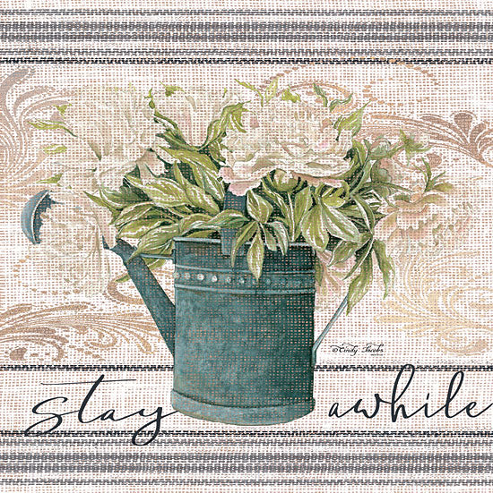 Cindy Jacobs CIN1439 - Stay Awhile - 12x12 Stay Awhile, Grain Sack, Linen Tea Towel, Flowers, Watering Can, Patterns from Penny Lane