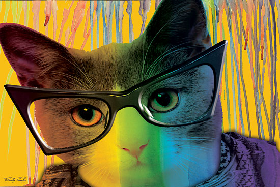Cindy Jacobs CIN1445 - Cat in Glasses - 18x12 Cat, Glasses, Whimsy, Tween, Rainbow from Penny Lane