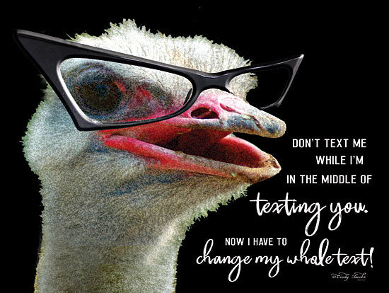 Cindy Jacobs CIN1449 - Ostrich Don't Text Me - 16x12 Ostrich, Humorous, Glasses, Texting from Penny Lane