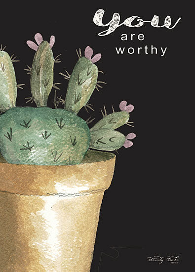 Cindy Jacobs CIN1537 - CIN1537 - You Are Worthy Cactus     - 12x16 Signs, Typography, Cactus, Plant, Greenery from Penny Lane