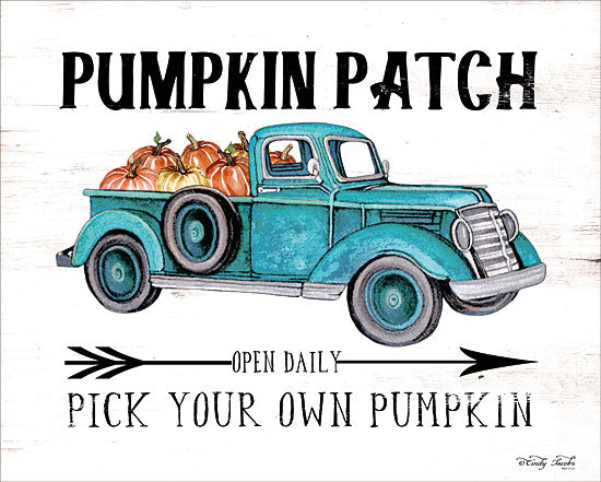 Cindy Jacobs CIN1620 - Pumpkin Patch Open Daily - 16x12 Pumpkin Patch, Truck, Pumpkins, Blue Truck, Signs, Autumn from Penny Lane