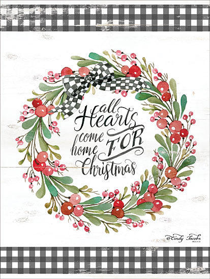 Cindy Jacobs CIN1627 - CIN1627 - All Hearts Come Home For Christmas - 12x16 Holidays, All Hearts Come Home, Christmas, Gingham Ribbon, Berries, Greenery, Wreath from Penny Lane