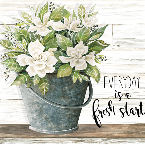 Cindy Jacobs CIN1671 - CIN1671 - Everyday is a Fresh Start - 12x12 Everyday is a Fresh Start, Flowers, White Flowers, Galvanized Bucket, Shiplap from Penny Lane