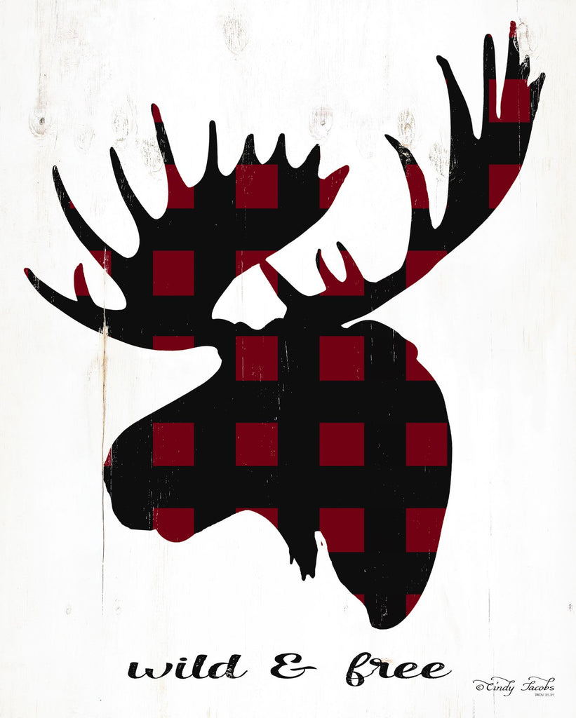 Cindy Jacobs CIN1714 - CIN1714 - Wild & Free - 12x16 Silhouette, Rustic, Lodge, Wildlife, Moose, Buffalo Plaid from Penny Lane