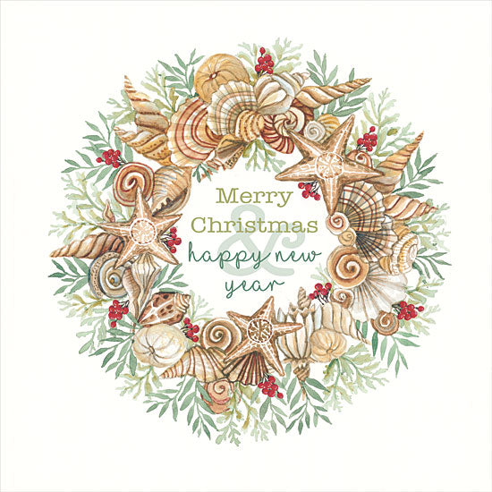 Cindy Jacobs CIN1913 - CIN1913 - Coastal Wreath Merry Christmas - 12x12 Signs, Typography, Coastal Wreath, Christmas, Happy New Year, Tropical, Christmas Ivy from Penny Lane