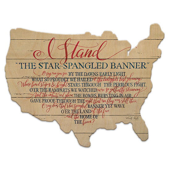 Cindy Jacobs CIN845US - I Stand Star Spangled Banner, I Stand, Calligraphy, America, Shiplap from Penny Lane