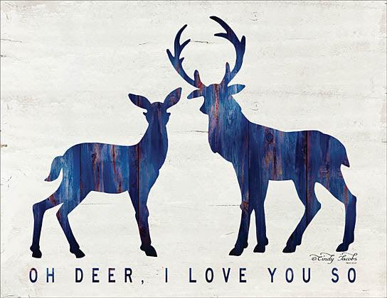 Cindy Jacobs CIN943 - Oh Deer, I Love You So - Deer, Love, Blue, Wood Inlay from Penny Lane Publishing