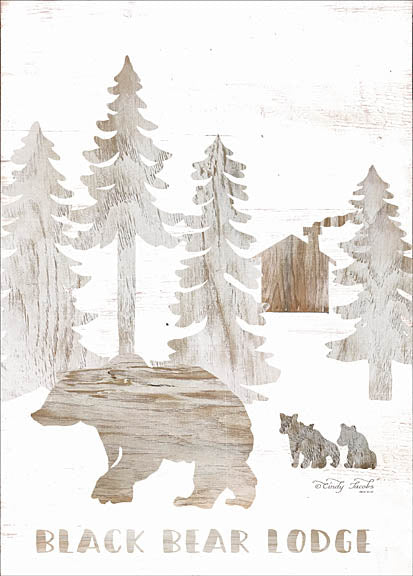 Cindy Jacobs CIN945 - Black Bear Lodge - Bear, Lodge, Trees, Pine, Cabin, Wood Inlay from Penny Lane Publishing