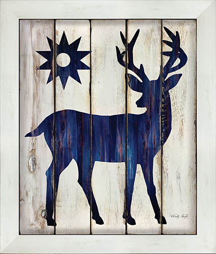 Cindy Jacobs CIN946 - Midnight Blue Deer I  - Deer, Sun, Wood Planks, Blue from Penny Lane Publishing