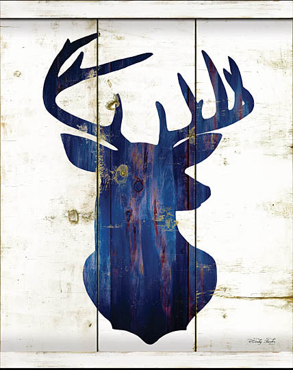 Cindy Jacobs CIN948 - Midnight Blue Deer III - Deer, Silhouette, Wood Planks, Blue from Penny Lane Publishing