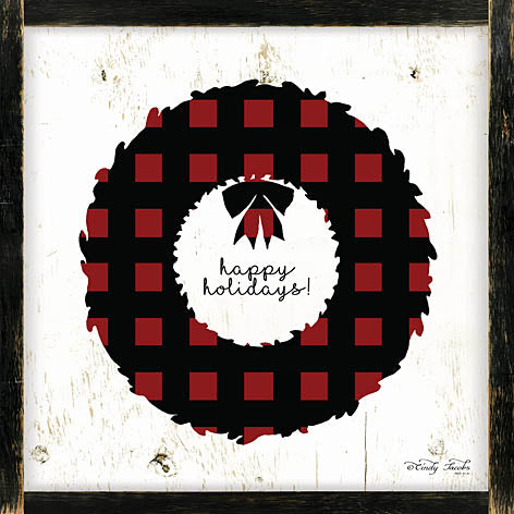 Cindy Jacobs CIN985 - Happy Holidays Plaid Wreath - Plaid, Christmas Wreath, Signs from Penny Lane Publishing