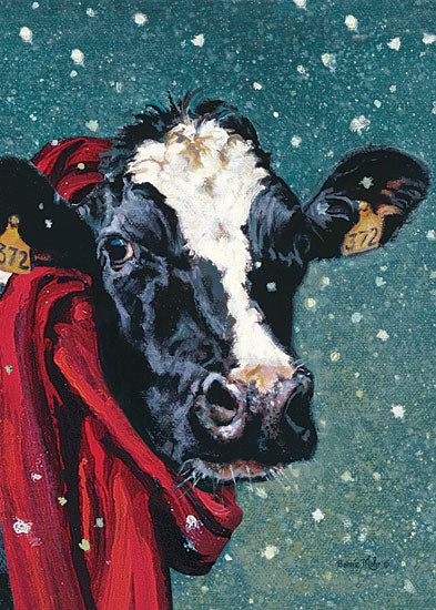 Bonnie Mohr COW326 - Staying Warm for Winter  - 12x16 Cow, Winter, Snow, Scarf, Portrait from Penny Lane