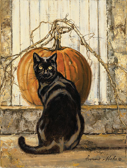 Bonnie Mohr COW327 - COW327 - Black Cat - 12x16 Halloween, Pumpkin, Black Cat, Primitive, Autumn from Penny Lane