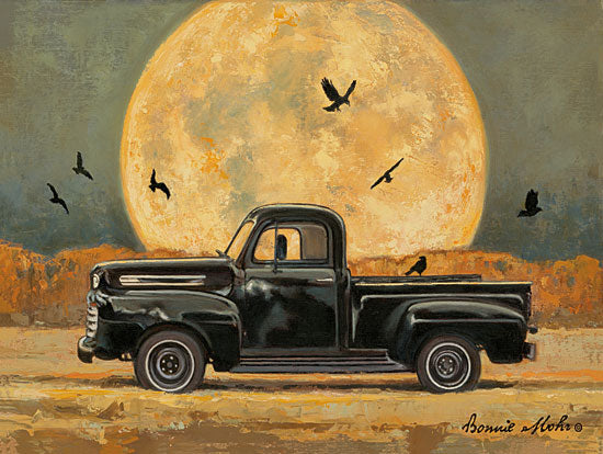 Bonnie Mohr COW328 - COW328 - Harvest Moon - 16x12 Harvest Moon, Truck, Vintage, Blackbirds, Fall from Penny Lane