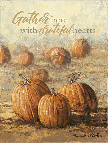 Bonnie Mohr COW329 - COW329 - Gather Here with Grateful Hearts - 12x16 Gather, Pumpkin Field, Pumpkins, Autumn from Penny Lane