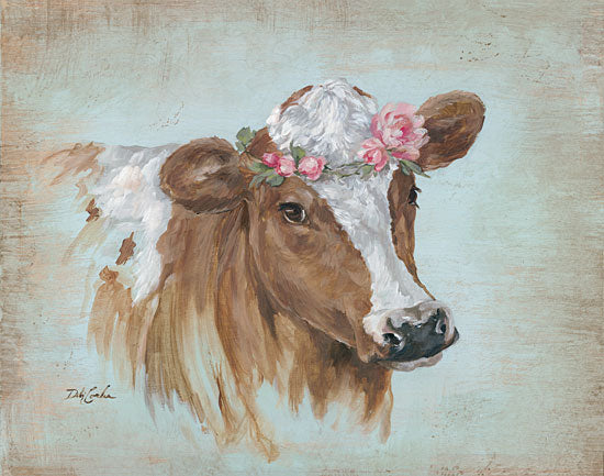 Debi Coules DC100 - Penelope Cow, Pink Flowers, Flower Crown from Penny Lane