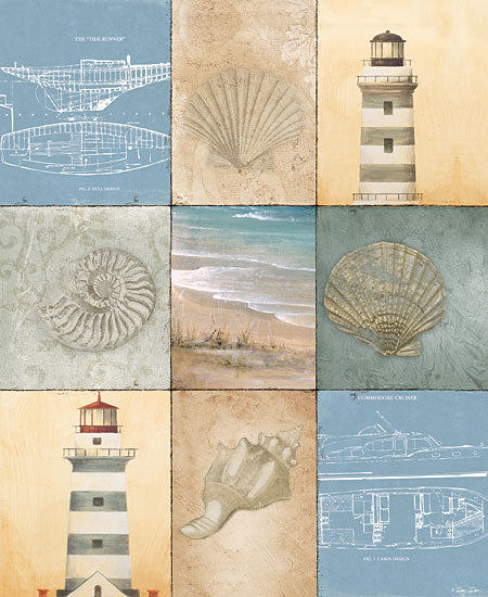 Dee Dee DD1632 - Coast Panels - Lighthouse,  Beach, Shells, Blueprint, Collage, Coast from Penny Lane Publishing