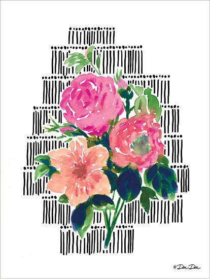 Dee Dee DD1646 - Watercolor Floral with Black Lines Abstract, Flowers, Patterns from Penny Lane