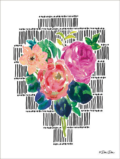Dee Dee DD1648 - Watercolor Floral with Black Lines II - 12x16 Flowers, Watercolor, Black Lines, Abstract from Penny Lane