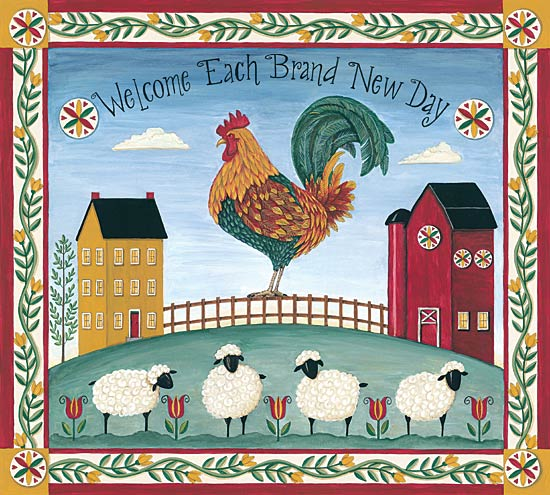 Deb Strain DS1622 - Welcome Each Brand New Day - Rooster, Sheep, Saltbox Houses, Fence, Border from Penny Lane Publishing
