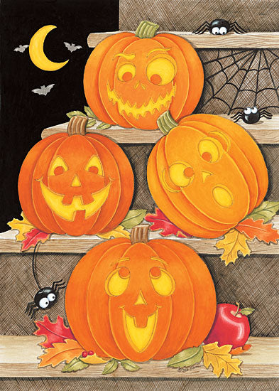 Deb Strain DS1627 - Jack-O-Lantern Stars - Jack O'lanterns, Steps, Spiders, Spider Web, Moon, Night from Penny Lane Publishing