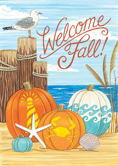 Deb Strain DS1629 - Coastal Fall with Seagull - Pumpkins, Fall, Welcome, Dock, Seaside, Shells, Seagull from Penny Lane Publishing