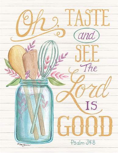 Deb Strain DS1642 - Oh Taste and See the Lord is Good - Taste and See, Jar, Kitchen Utensils, Psalm, Wood Planks from Penny Lane Publishing