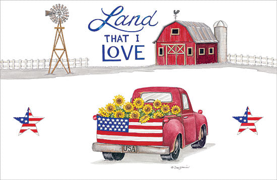 Deb Strain DS1657 - Land That I Love - Land, that I Love, Truck, American Flag, Barn, Stars, Sunflowers from Penny Lane Publishing