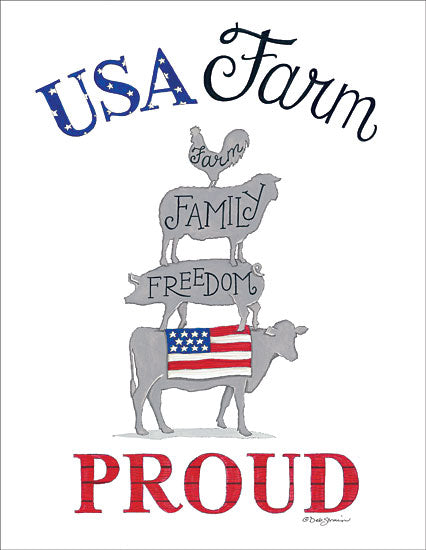 Deb Strain DS1661 - USA Farm Proud - USA, Animal Stack, Family, Freedom, Cow, Pig, Sheep, Rooster from Penny Lane Publishing