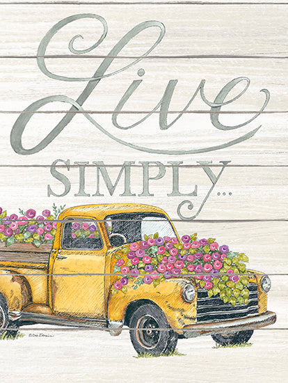 Deb Strain DS1663 - Live Simply - Truck, Flowers, Shiplap, Farm, Live Simply from Penny Lane Publishing