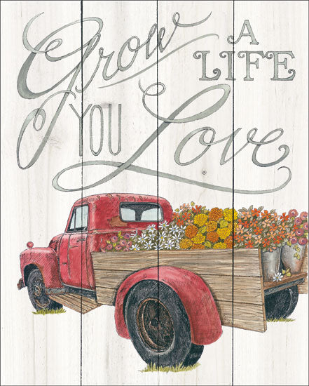 Deb Strain DS1679 - Find Joy - 12x16 Truck, Flowers, Find Joy, Black Truck, Calligraphy from Penny Lane