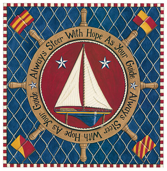Deb Strain DS1724 - Always Steer with Hope as Your Guide Sailboat, Sampler, Flags, Captain's Wheel, Nets, Hope from Penny Lane