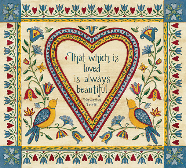 Deb Strain DS1725 - That Which is Loved is Always Beautiful Sampler Norwegian Proverb, Birds, Flowers, Sampler, Heart, Patterns from Penny Lane