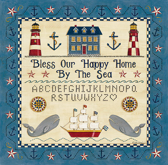 Deb Strain DS1726 - Bless our Happy Home by the Sea Sampler Bless Our Home, Lighthouse, Ship, Whales, Anchors, Stitchery from Penny Lane