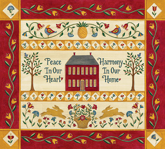 Deb Strain DS1727 - Harmony in Our Home Sampler Peace, Harmony, Sampler, Saltbox House, Pineapple, Flowers from Penny Lane