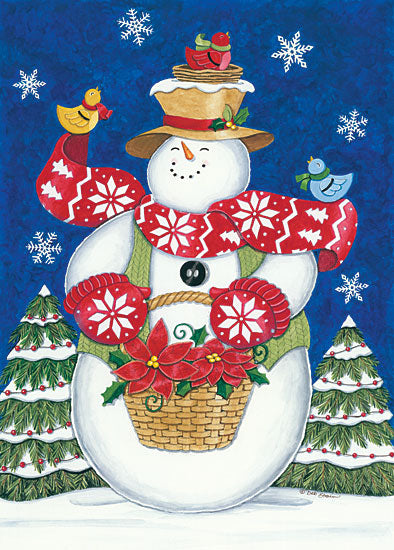 Deb Strain DS1729 - Snowman with Poinsettias Snowman, Poinsettias, Holidays, Winter, Snow, Birds, Whimsical from Penny Lane
