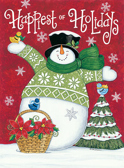 Deb Strain DS1730 - Happiest of Holidays Snowman Snowman, Poinsettias, Holidays, Winter, Snow, Birds, Whimsical from Penny Lane