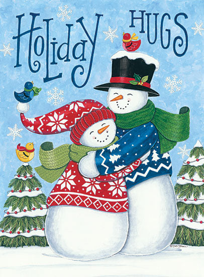 Deb Strain DS1731 - Holiday Hugs Snowmen Snowman, Father and Son, Holidays, Winter, Snow, Birds, Whimsical from Penny Lane