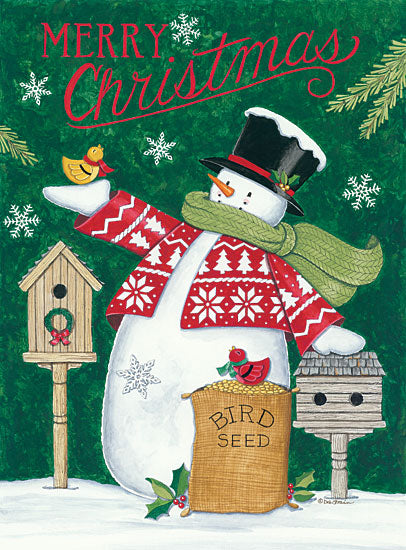 Deb Strain DS1732 - Merry Christmas Snowman Snowman, Birds, Birdhouses, Holidays, Winter, Snow, Whimsical from Penny Lane