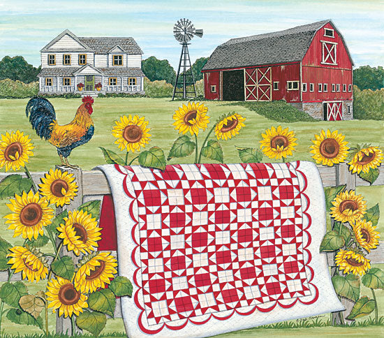 Deb Strain DS1733 - Red & White Farm Quilt Quilt, Red and White, Farm, Barn, Rooster, Sunflowers, Autumn, Homestead from Penny Lane