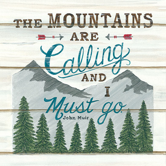 Deb Strain DS1739 - The Mountains are Calling - 12x12 The Mountains are Calling, Mountains, Pine Trees, Arrows, John Muir, Shiplap from Penny Lane