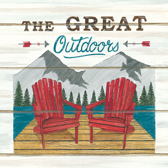 Deb Strain DS1741 - The Great Outdoors - 12x12 The Great Outdoors, Adirondack Chairs, Deck, Dock, Mountains, Scenery from Penny Lane