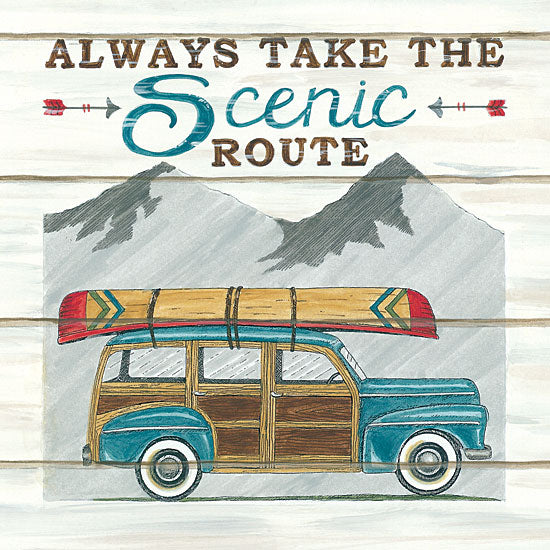 Deb Strain DS1744 - Always Take the Scenic Route - 12x12 Always Take the Scenic Route, Station Wagon, Car, Canoe, Mountains, Shiplap from Penny Lane