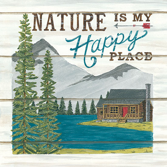 Deb Strain DS1746 - Nature is My Happy Place - 12x12 Nature, Happy Place, Shiplap, Log Cabin, Lake, Mountains, Trees from Penny Lane