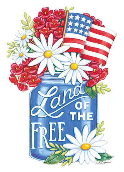 Deb Strain DS1793 - Land of the Free Blue Mason Jar - 12x16 Americana, Flowers, Patriotic, Mason Jar, Land of the Free, American Flag, Daisies from Penny Lane