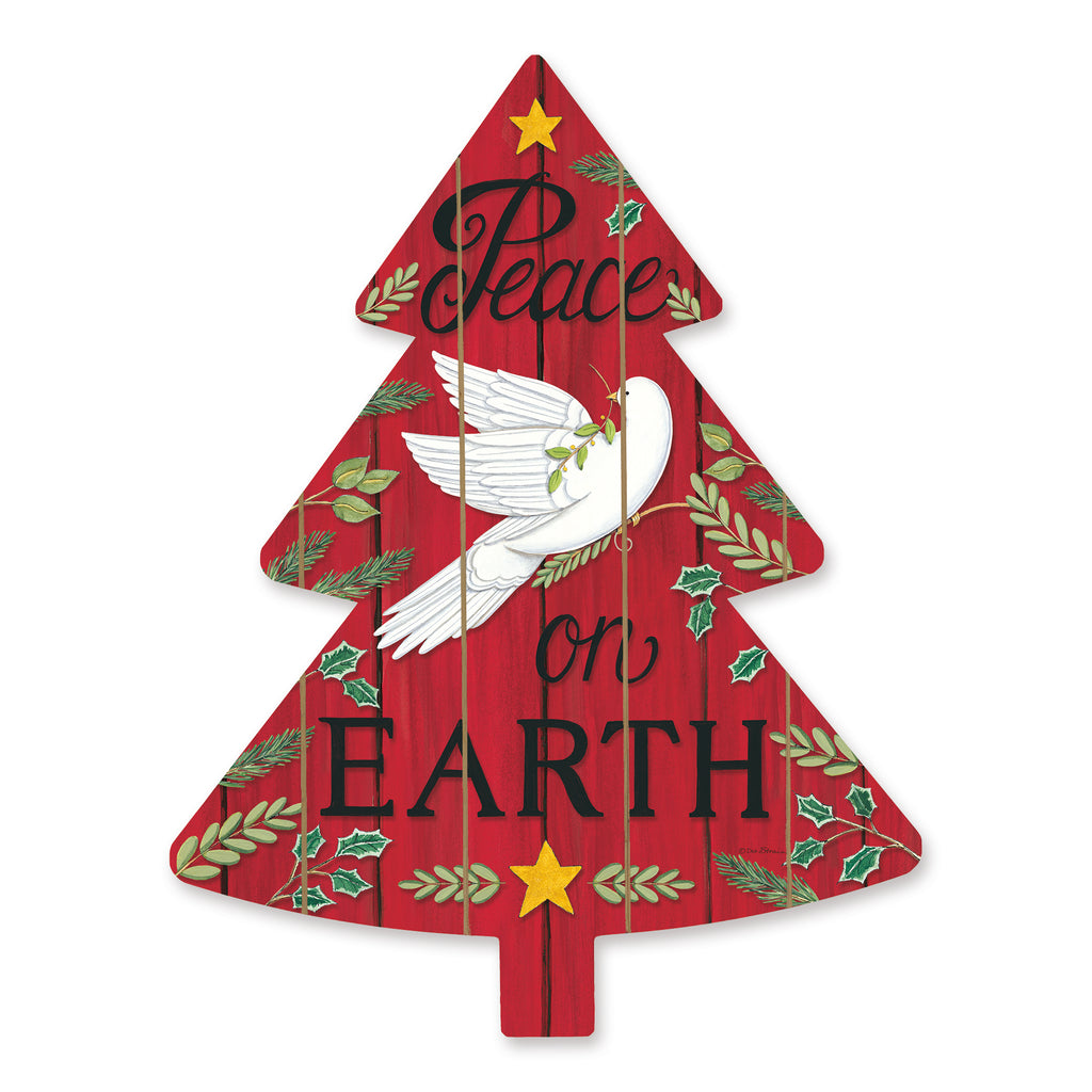 Deb Strain DS1819TREE - DS1819TREE - Peace on Earth Tree - 14x18 Signs, Dove, Peace On Earth, Wood Planks, Christmas Tree, Star, Typography from Penny Lane
