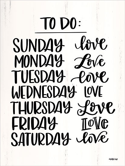 Imperfect Dust DUST143 - To Do List Days of the Week, Love, List, Calligraphy from Penny Lane